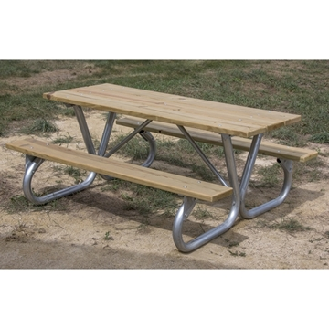Picture of Rectangular Wooden Picnic Tables 8 foot Wooden with Bolted 2 3/8 In. Galvanized Tube, Portable