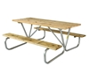 Rectangular Picnic Table 8 Ft. Wooden with Bolted 1 5/8 In. Galvanized Tube