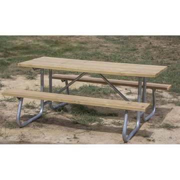 Picture of Rectangular Wooden Picnic Tables 8 Ft. with Welded 1 5/8 In. Galvanized Steel, Portable