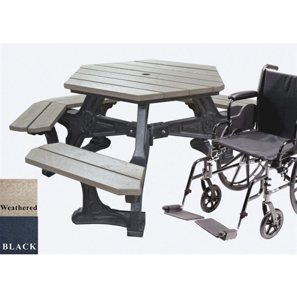 """Picture of 42"""" Wheelchair Accessible ADA Hexagonal Picnic Table, 173 lbs."""