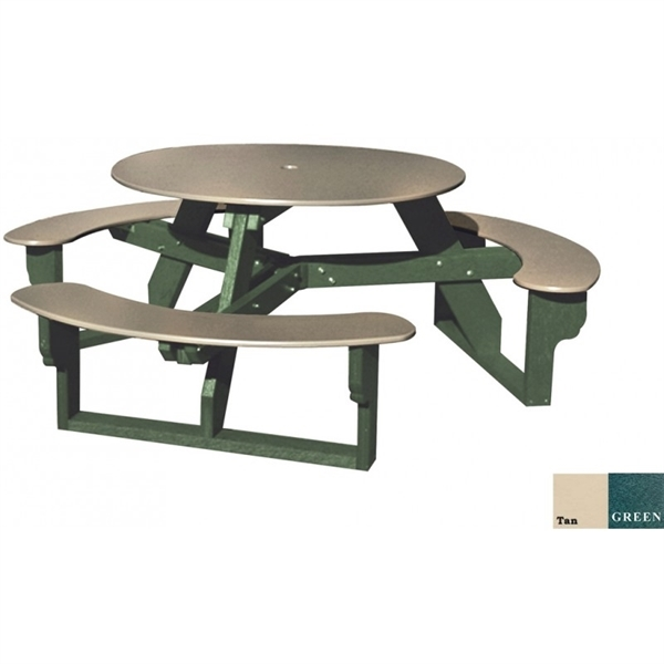 """Picture of 46"""" Round Recycled Plastic Picnic Table, 212 lbs."""
