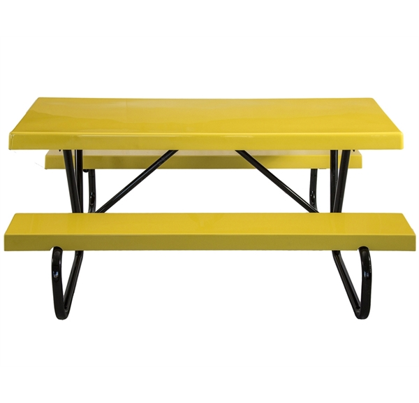 Rectangular Fiberglass Picnic Tables 6 Ft. with Bolted 1 5/8 In. Galvanized Tube