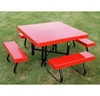 "48"" Square Fiberglass Top Picnic Table with Powder-Coated Portable Frame"