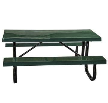 Rectangular Fiberglass Picnic Tables 6 Ft. with 2 3/8 In. Galvanized Steel
