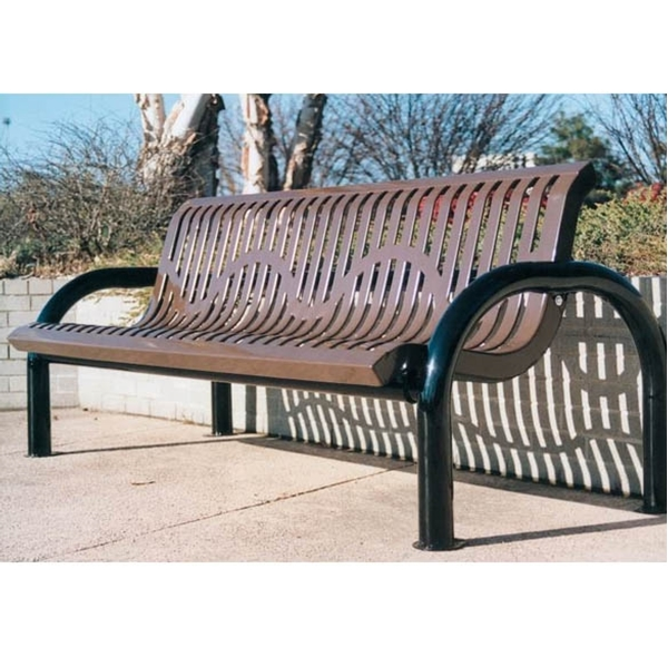 Picture of Bench With Back 6 foot Plastic Coated Ribbed Steel With 2 7/8 In. Bent Frame, Portable or Surface Mount