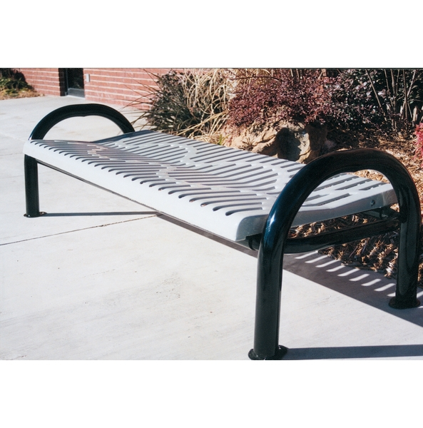 Picture of Bench Without Back 6 foot Plastic Coated Ribbed Steel With 2 7/8 In. Bent Frame, Portable or Surface Mount
