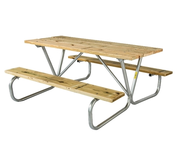 6 Ft. Rectangular Wooden Picnic table with 1-5/8 In. Galvanized Steel Frame