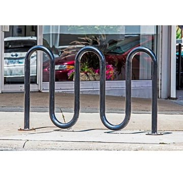 Picture of Bike Rack 7 Space 5 Loop Bike Rack 71 In. Powder Coated 2 3/8 In. Pipe, In-ground Mount