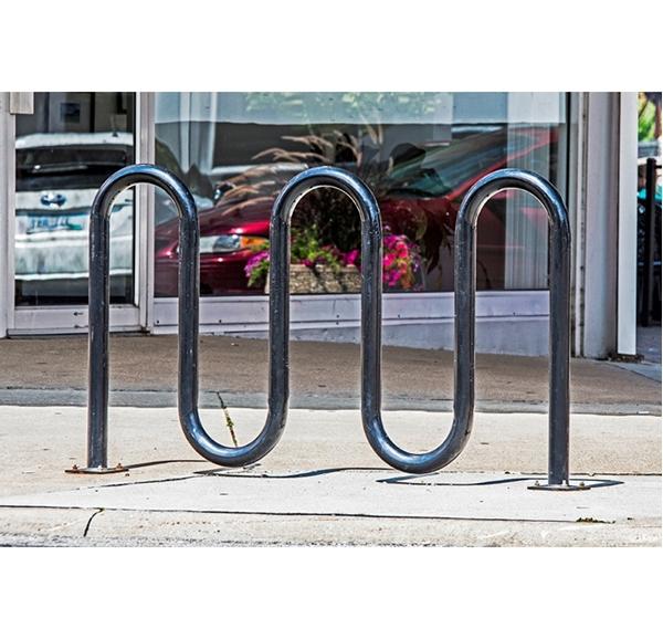 Bike Rack 7 Space 5 Loop Bike Rack 71 In. Powder Coated 2 3/8 In. Pipe