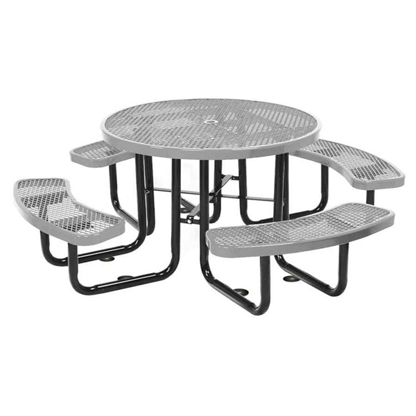 Picnic Table Round 46 In. Plastic Coated Expanded Metal with Powder Coated Steel Tube
