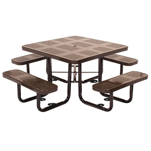 Square Thermoplastic Picnic Tables 46 inch Thermoplastic Coated Perforated with Powder Coated Steel Tube