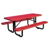 Picnic Table Rectangle 6 Ft. Plastic Coated Expanded Metal with Powder Coated 2 3/8 In. Steel Tube