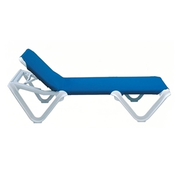 Nautical Plastic Resin Sling Stackable Chaise Lounge