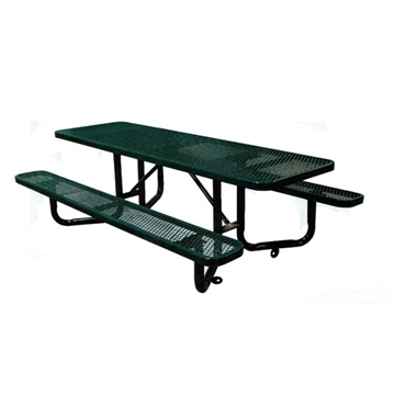 ADA Wheelchair Accessible Y-Base Picnic Table Expanded Metal Thermoplastic Steel