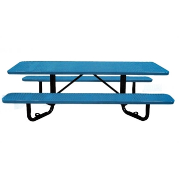 ADA Wheelchair Accessible Y-Base Picnic Table Perforated Thermoplastic Steel