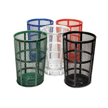 Picture of Trash Can Expanded Metal Basket Round 48 Gallon Powder Coated Steel