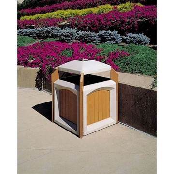 Trash Can Jumbo with Ash Tray 60 Gallon Recycled Plastic with Liner