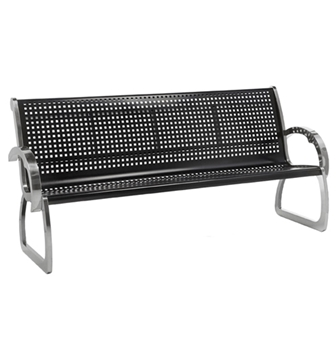 4 Ft. Black and Stainless Steel Bench with Back