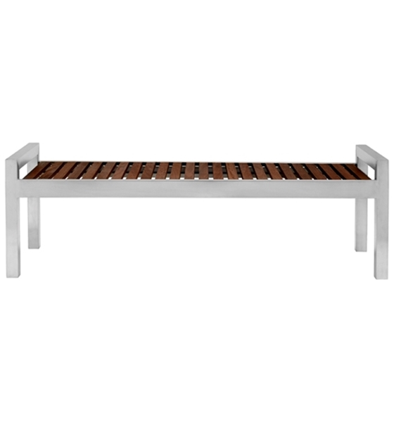 Picture of 5 Ft. Skyline Wood and Stainless Steel Backless Bench, Portable 36 lbs.