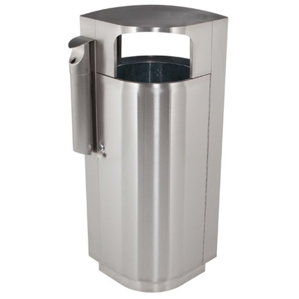 40 Gallon Stainless Steel Trash Can with Cigarette Receptacle