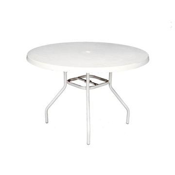 """Picture of Round 42"""" Fiberglass Dining Table with 1"""" Aluminum Frame, White"""