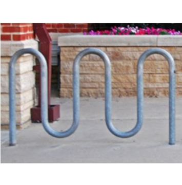 Picture of Bike Rack 7 Space 5 Loop Bike Rack 71 In. Galvanized 2 3/8 In. Pipe, In-ground Mount