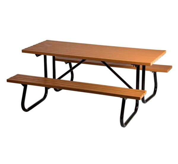 Rectangular Picnic Table 6 Ft. Recycled Plastic with Powder Coated 1 5/8 In. Frame