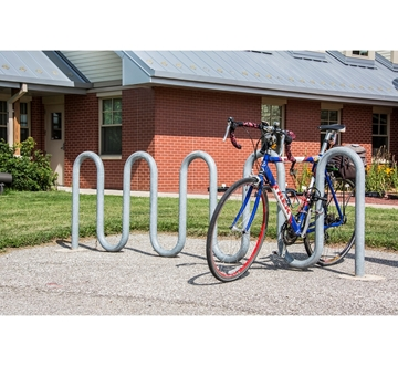 Picture of Bike Rack 11 Space 9 Loop Bike Rack 113 In. Galvanized 2 3/8 In. Pipe, In-ground Mount