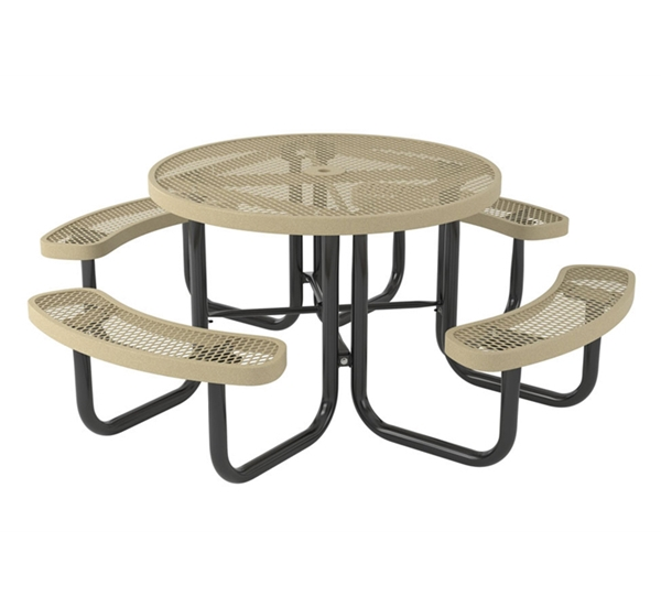 """Picture of Quick Ship Round Thermoplastic Picnic Table 46"""" Top & Two Attached Seats Plastic Coated Expanded Metal with 2"""" Galvanized Steel Frame"""