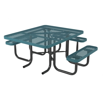"Picture of ADA Compliant Square Thermoplastic Picnic Table 46"" Top with 3 Attached Seats, 2"" Galvanized Steel Frame"