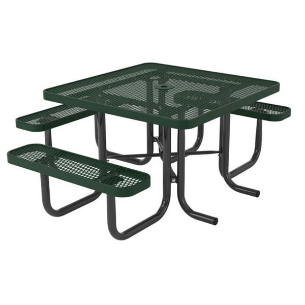 "Picture of Square Thermoplastic Picnic Table 46"" Top with 3 Attached Seats, 2"" Galvanized Steel Frame"