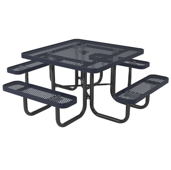 """Picture of Quick Ship Square Thermoplastic Picnic Table 46"""" Top with 4 Attached Seats, 2"""" Galvanized Steel Frame"""