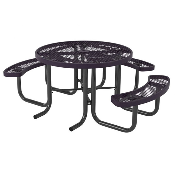 """Picture of Quick Ship Round Thermoplastic Picnic Table 46"""" Top & Three Attached Seats with 2"""" Galvanized Steel Frame"""