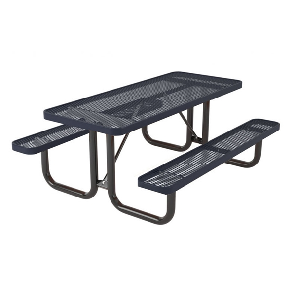"Picture of 8 Foot Rectangular Picnic Table, Thermoplastic Coated Expanded Metal with Welded 2 3/8"" Steel Frame, Portable"
