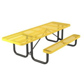 "Picture of 8 Foot ADA Compliant Rectangular Picnic Table, Thermoplastic Coated Expanded Metal with Welded 2 3/8"" Steel Frame, Portable"