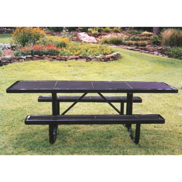 "Picture of Quick Ship 8 Foot ADA Compliant Rectangular Picnic Table, Thermoplastic Coated Expanded Metal with 2 3/8"" Steel Frame, Portable"