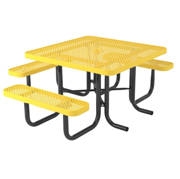 "Picture of Square Perforated Thermoplastic Picnic Table 46"" Top with 3 Attached Seats and 2"" Galvanized Steel Frame"