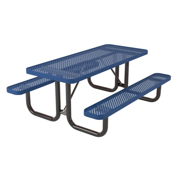 "Picture of 8 Foot Rectangular Picnic Table, Thermoplastic Coated Perforated Metal with Welded 2 3/8"" Steel Frame, Portable"