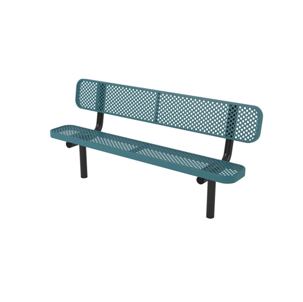 "Picture of Quick Ship 8 Ft. Thermoplastic Coated Perforated Metal Bench with Back and 2 3/8"" Steel Legs, Portable, Surface Mount, or Inground"