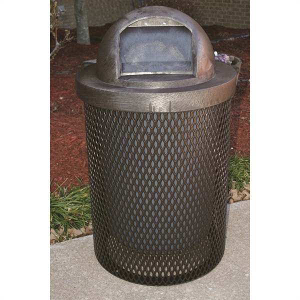 Picture of Quick Ship Trash Can 32 Gallon Plastic Coated Expanded Metal Includes Liner and Dome Top