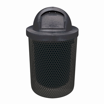 Picture of Trash Can 32 Gallon Plastic Coated Perforated Metal Includes Liner and Dome Top