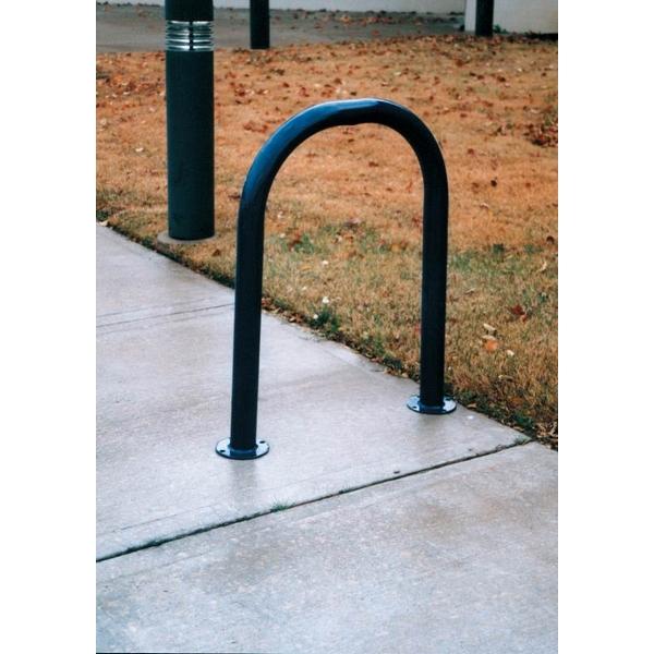 """Picture of Single 28"""" Loop Bike Rack Plastic Coated Steel Tube, In-Ground Mount"""