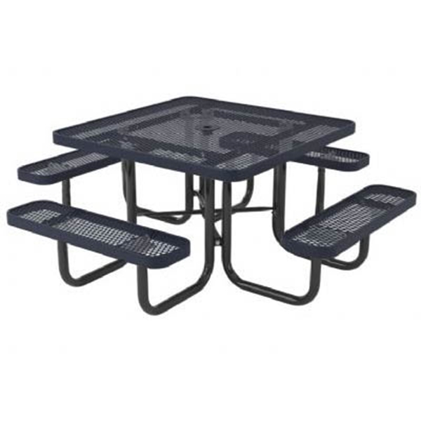 "Picture of Square Perforated Thermoplastic Picnic Table 46"" Top with 4 Attached Seats and 2"" Galvanized Steel Frame"