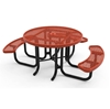 "46"" RHINO Wheelchair Accessible Round Thermoplastic 3-Seat Picnic Table with Portable Frame"