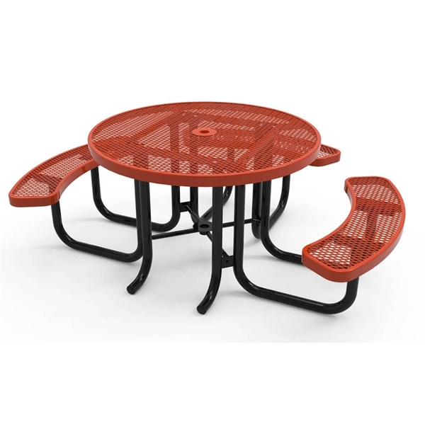 """Picture of 46"""" RHINO Wheelchair Accessible Round Thermoplastic 3-Seat Picnic Table with Portable Frame, 229 lbs."""