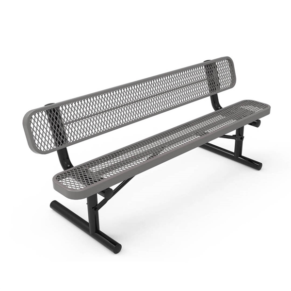 Picture of RHINO 6 Ft. Bench with Back, Thermoplastic Expanded Metal, 114 lbs.