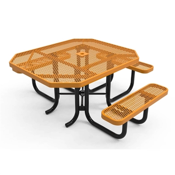 "Picture of 46"" RHINO ADA Accessible Octagonal Thermoplastic 3-Seat Picnic Table with Portable Frame, 229 lbs."