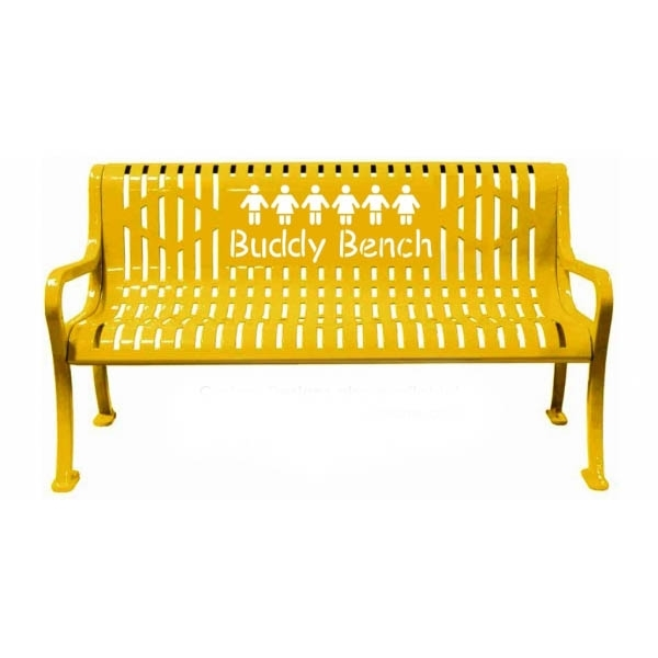 5 Ft. Buddy Bench, Roll Formed Diamond Contour Bench Plastic Coated Steel