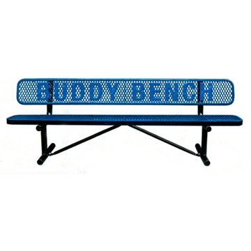 8 Ft. Buddy Bench with Back Plastic Coated Expanded Steel