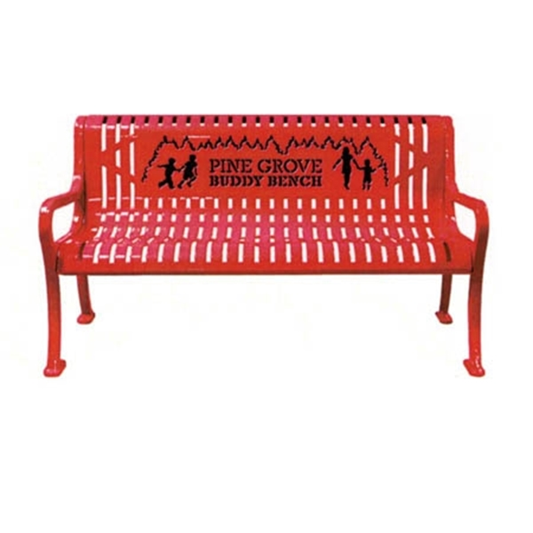 Picture of 5 Ft. Custom Buddy Bench with Back Plastic Coated Rolled Steel, Portable